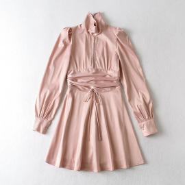 Women's Pink Pleated Puff Sleeve Open Back Long-sleeved Dress Nihaostyles Clothing Wholesale NSXPF77422
