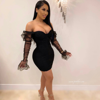 Women's Wrapped Chest Stitching Mesh Sleeves Slim Dress Nihaostyles Clothing Wholesale NSDMS77426