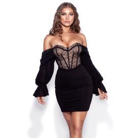 Women's Lace Halter Double-layer Lantern Sleeve Short Dress Nihaostyles Clothing Wholesale NSDMS77428