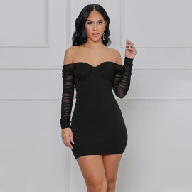 Women's Net Gauze Sleeves Wrapped Chest Dress Nihaostyles Clothing Wholesale NSDMS77432