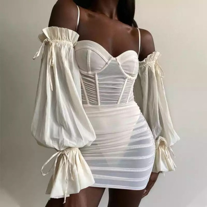 Women's Mesh Gauze Pleated Wrapped Chest Long-sleeved Strap Dress Nihaostyles Clothing Wholesale NSDMS77433