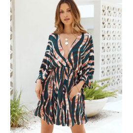Women's Stripe Printing V-neck Long-sleeved Dress Nihaostyles Wholesale Clothing NSJIM77969