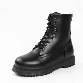 Women's Lace-up Side Zipper PU Leather Motorcycle Boots Nihaostyles Clothing Wholesale NSHYR77510