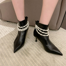 Women's High-heeled Pearl Chain Beaded Pointed Back Zipper Short Boots Nihaostyles Clothing Wholesale NSCA77525