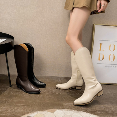 Women's V-mouth Pointed Toe Thick Heel Boots Nihaostyles Clothing Wholesale NSCA77528