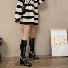 Women's Pearl Chain Patent Leather Thick High Heel Square Head High Boots Nihaostyles Clothing Wholesale NSCA77529