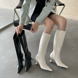 Women's Pointed Toe Patent Leather High Heel Boots Nihaostyles Clothing Wholesale NSCA77530