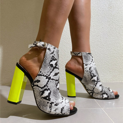 Women's Snake Print Thick Heel High Heel Buckle Sandals Nihaostyles Clothing Wholesale NSCA77531