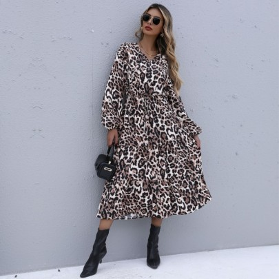 Women's Leopard Print V-Neck Elastic Waist Bandage Long Sleeve Dress Nihaostyles Clothing Wholesale NSDMB77532