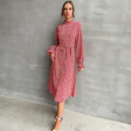 Women's Print Mid-length Lotus Leaf Tie Long-sleeved Floral Dress Nihaostyles Clothing Wholesale NSDMB77533