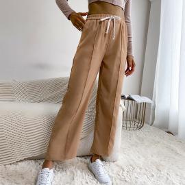 Women's Solid Color Drawstring Elastic Waist Wide-leg Pants Nihaostyles Clothing Wholesale NSDMB77534