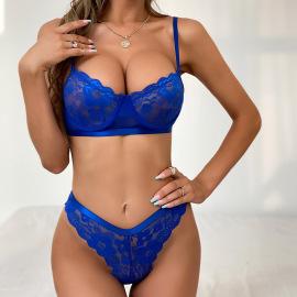 Women's Lace Stitching Mesh Underwear Set Nihaostyles Clothing Wholesale NSRBL77546