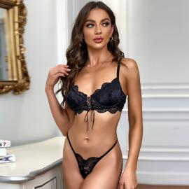 Net Yarn Lace Bandage Lingerie Set Nihaostyles Clothing Wholesale NSRBL77554