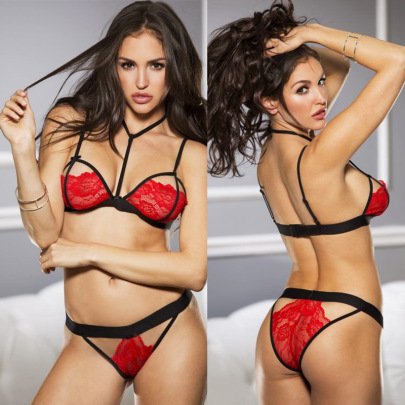 Lace Side Hanging Neck With Pantie Underwear Suit Nihaostyles Clothing Wholesale NSFQQ77566
