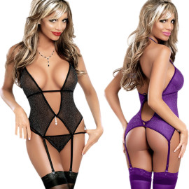 Women's High Stretch Tulle One-piece Underwear With Garter Belt Pajamas Nihaostyles Clothing Wholesale NSFQQ77568