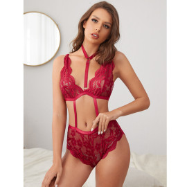 Women's Lace Neck Lace One-piece Underwear Nihaostyles Clothing Wholesale NSFQQ77573