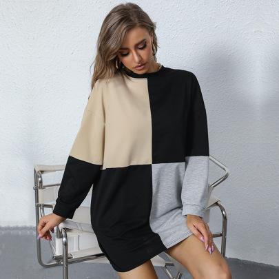 Women's Large Plaid Round Neck Mid-length Dress Nihaostyles Clothing Wholesale NSDMB77593