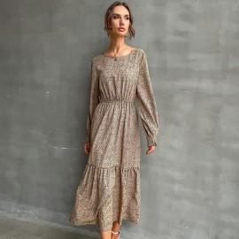 Women's Leopard Print Round Neck Elastic Waist Dress Nihaostyles Clothing Wholesale NSDMB77601