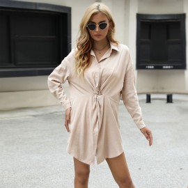 Women's Lapel Twisted Long Sleeve Shirt Dress Nihaostyles Clothing Wholesale NSDMB77602