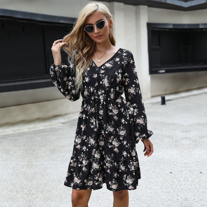 Women's Flower Print V-neck Long-sleeved Lace Loose Dress Nihaostyles Clothing Wholesale NSDMB77603