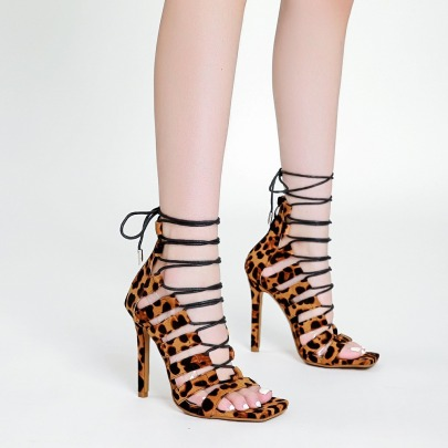 Women's Cross Strap Leopard Print High-heeled Sandals Nihaostyles Clothing Wholesale NSCA77610