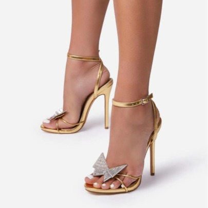 Women's  Bowknot Rhinestone Stiletto Sandals Nihaostyles Clothing Wholesale NSCA77612