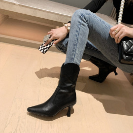 Women's Pointed Toe Side Zipper V-mouth Boots High-heeled Boots Nihaostyles Clothing Wholesale NSCA77614