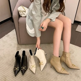 Pointed Metal Buckle Side Zipper Stiletto Short Boots Nihaostyles Clothing Wholesale NSCA77631