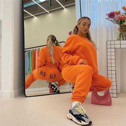 Women's Fleece Trousers Loose Pullover Sweatshirt Suit Nihaostyles Clothing Wholesale NSMUZ77645