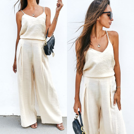 Women's Camisole And Trousers Two-piece Casual Suit Nihaostyles Clothing Wholesale NSMUZ77646