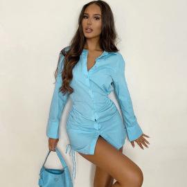 Drawstring Single-breasted Long-sleeved Shirt Dress Nihaostyles Clothing Wholesale NSFLY77649