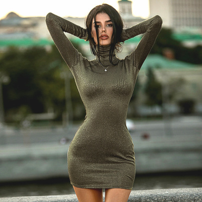 Green Solid Color Hedging Long Sleeve High Neck Dress Nihaostyles Clothing Wholesale NSFLY77654