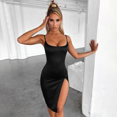 Women's Solid Color Slit Dress Nihaostyles Clothing Wholesale NSFLY77657