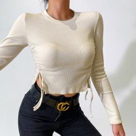 Women's Slit Drawstring Round Neck Slim Long-sleeved T-shirt Nihaostyles Clothing Wholesale NSFLY77658