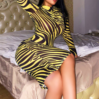 Women's High-neck Mid-length Yellow Striped Slim Long-sleeved Dress Nihaostyles Clothing Wholesale NSFLY77665