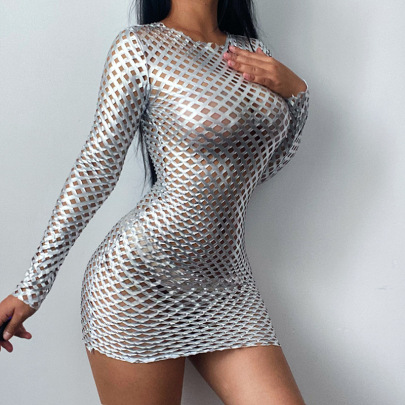 Women's Solid Color Diamond Mesh Hollow Dress Nihaostyles Clothing Wholesale NSFLY77675