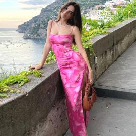 Women's Halter Sling Print Slit Slim Dress Nihaostyles Clothing Wholesale NSFLY77685