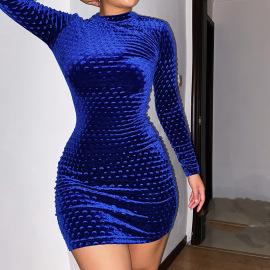Women's Long-sleeved Round Neck Slim Dress Nihaostyles Clothing Wholesale NSFLY77689