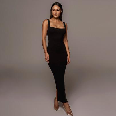 Women's Square Neck Long Dress Nihaostyles Clothing Wholesale NSFLY77693