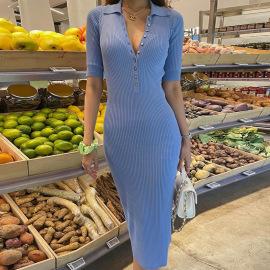 Women's Half-open Collar Mid-sleeve Mid-length Dress Nihaostyles Clothing Wholesale NSFLY77694