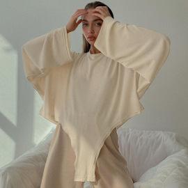 Women's Irregular Hem Round Neck Yoga Long-sleeved Top Nihaostyles Clothing Wholesale NSFLY77697