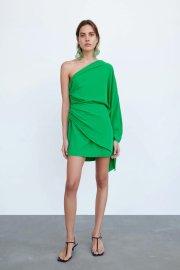Women's Asymmetric Shoulder Pleated Dress Nihaostyles Clothing Wholesale NSAM77707