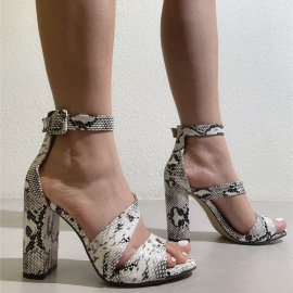 Women's Snake Pattern High-heeled Sandals Nihaostyles Clothing Wholesale NSCA77712