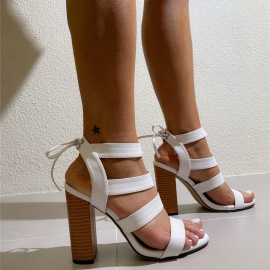 Women's Open-toed High-heeled Thick-heeled Sandals Nihaostyles Clothing Wholesale NSCA77718