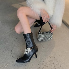 Women's Pointed Pearl Beaded Stiletto High-heeled Boots Nihaostyles Clothing Wholesale NSCA77720