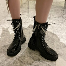 Women's Pearl Chain Patent Leather Platform Boots Nihaostyles Clothing Wholesale NSCA77721
