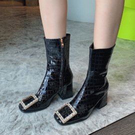 Square Metal Rhinestone Buckle Thick High Heel Boots Nihaostyles Clothing Wholesale NSCA77723