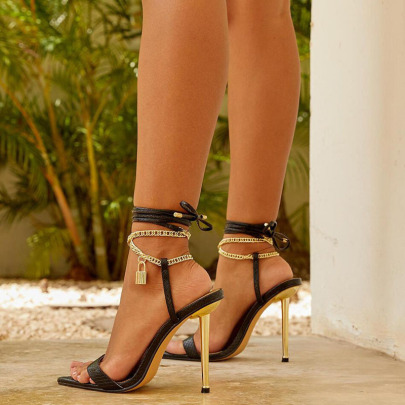 Women's Pointed Toe Metal Chain Stiletto Strap Sandals Nihaostyles Clothing Wholesale NSCA77725