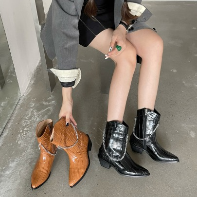 Solid Color Side Zipper Pointed Patent Leather Chain Thick Heel Boots Nihaostyles Clothing Wholesale NSCA77726