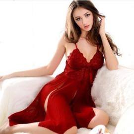 Women's Slit Mesh Strap Nightdress Nihaostyles Clothing Wholesale NSFQQ77760
